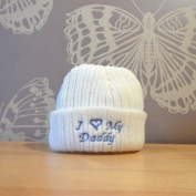 I Love My Daddy Newborn Baby Novelty Slogan Knitted Hat