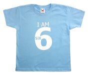 Fab4babystars Children's I Am 6 Birthday T-shirt - Cool Blue - Size 5-6 Years