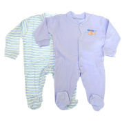 Baby Long Sleeve 100% Cotton Sleepsuits (Pack Of 2) -3 Designs Boys/Girls Options (6-9 Months)