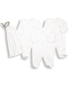 The Essential One - Pack of 3 White Sleepsuits/Baby grows + Bag ESS1