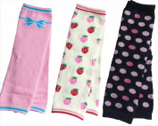 Baby Toddler Girl Winter Leg Warmers Bright Pretty Cute Design - Strawberry Pink Bow Polka Dots