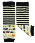 Leg warmers by Dotty Fish Car and Stripe design - Blue- One Size Girls and Boys