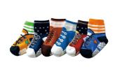 Boys Toddlers Kids 6-pack Funky Graphic Shoe-like Socks - Graphic 2 NON SLIP