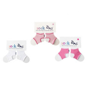 Sock Ons - 0-6 Months - ** 3 Pack ** (1 x White,1 x Fuchsia & 1 x Baby Pink) Three Sock Ons Baby Sock Keepers : Amazing Value Pack