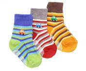 Baby Boy 3-Pack Thick Winter Socks - STRIPE CARS