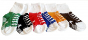 Colourful Baby World Baby Boys Kids Toddlers Socks 6 pack Shoe Ankle Trainer Stripe Bundle Anti Slip - Stars