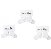 Sock Ons - 0-6 Months - ** 3 Pack ** Colour White : Three Sock Ons Baby Sock Keepers : Amazing Value Pack