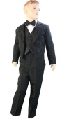 Baby Boys Black Tail Backed 5 Piece Tuxedo Suit - Incs Waistcoat, Jacket With Tails, Trousers, Bowtie & Shirt