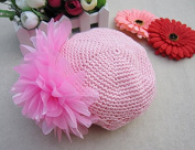 Kobwa(TM) Pink Cute Crochet Flower Baby Knit Hat Infant Girl Cotton Cap With Kobwa's Keyring