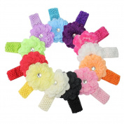 12 Lovely Multi-colour Peony Flower Baby Toddler Hairbow Crochet Elastic Headband