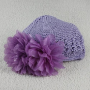 Newborn Baby Girls Cute Toddlers Flower Crochet Beanie Knitted Cap Hat 0-12M,purple