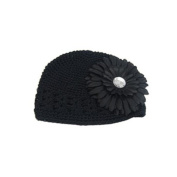 Baby Girls Toddler Crochet Beanie Hat with Flower Clip Black