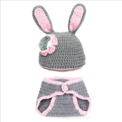 HuntGold 2pcs Set Newborn Baby Girl's Warm Hat+Pants Bunny Clothes Outfit Suits Rabbit