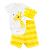 CHIC*MALL Children Baby Boys Girls Sets Clothes 3pcs Romper+Hat+Pants Clothing Set Summer Giraffe