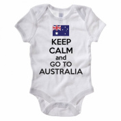 KEEP CALM AND GO TO AUSTRALIA - Australian / OZ / Down Under Themed Baby Grow / Suit