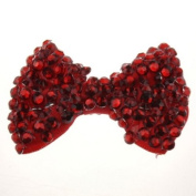 Girl Ladies Fashion Diamante Crystal Stone Bow Hair Clip With Various Colours