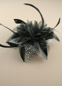Allsorts® Black and White Feather Comb Fascinator Brooch Pin Ladies Day Royal Ascot Weddings