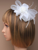 Beautiful White Rose and Pearl Bead Bridal Hair Fascinator on Comb