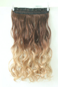 50cm 60cm One Piece Clip in Hair Extensions 3/4 Full Head Wavy Curly Straight Ombre NOT Human Hair 5 Clips