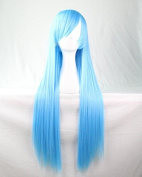 Womens/Ladies 80cm BLUE Colour Long STRAIGHT Cosplay/Costume/Anime/Party/Bangs Full Sexy Wig