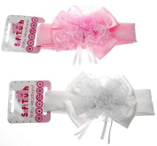 BNWT baby girls lace hairband satin bow and lace NB to 6 mth FREE U.K POST