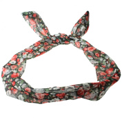 Wire Headband Retro Wired Head Scarf Rockabilly Wire Hair Band Head Wrap Vintage Black Floral