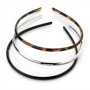 Set of 3 Black Silver and Tort Narrow Alice Hair Bands Headbands