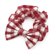 Girls Gingham Print Hair Scrunchy with Bow