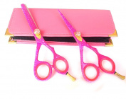 Professional Hairdressing Scissors Hair Barber Shears & Thinner 14cm Pink With Case JAPANESE STEEL RAZOR EDGED