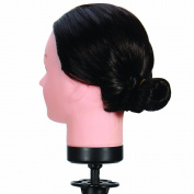 46cm Off Black #2 , Female Barber Hairdresser Hair Hairdressing Hair Cutting Student Practise Training Head Doll Mannequin , with Clamp Holder