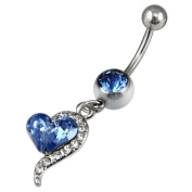 Tinxs 316L Surgical Steel Blue Rhinestones Heart Dangle Surgical Steel Belly Navel Bar Bars Ring Body Jewellery