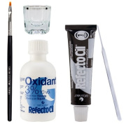 Refectocil Eyelash Eyebrow Tint Dye Kit Pure Black No.1 + Brush Dish Developer
