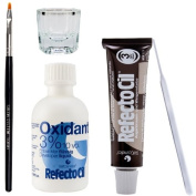 Refectocil Eyelash Eyebrow Tint Dye Kit Natural Brown No.3 +brush Dish Developer
