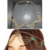 Fashion Gothic Women Ladies Crown Rhinstone Head Chain Headpiece Headdress Headwrap Hair Chain Jewellery