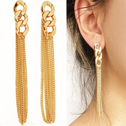 Fashion Celebrity Women Ladies Long Dangle Chain Earrings Golden Tassel Chain Ear Stud