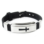 Cross Stainless Steel Bracelet Black Rubber Bangle