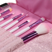 Lychee Soft Professional Beautiful 8pcs Makeup Brushes Cosmetic Make Up Brush Set Kit Foundation with Pink Faux Leather Pouch Bag Case