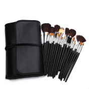 Amzdeal® 34 Piece Goat Hair Starter Make Up Brushes Set With Leather Roll Up Case