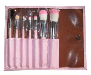 LyDia professional 7 pieces baby pink makeup brush set with pink case