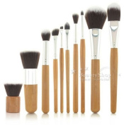 Natural Bamboo Handles Super Soft Bristles Eco-friendly 10 pcs Makeup Brush Set