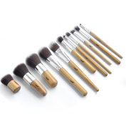 IB 11pc Piece Luxury Bamboo Wooden Make Up Brush Set For Eyes & Face- Eco Friendly