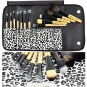 BF New Authentic 12pcs Makeup Brush Set White Leopard + Free Eyebrow Pencil Lip Liner #177Q