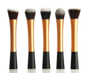 NEW Professional 5pcs ROSE GOLD flat top foundation/angled blusher/face powder makeup brush set