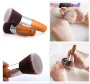 NEW Flat Top Buffer Bamboo Wooden Liquid Foundation/Powder/Bronzer Makeup Brush