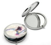 "CKB Ltd ® Mother of Pearl Effect Make Up Pocket Compact Mirror cosmetic Art Deco Butterfly & Flower Pattern 7.7x7cm (3""x2-3/4""),"