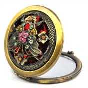 Retro Bronze Multiple Pattern Diamond Pocket Make-Up Compact Mirror