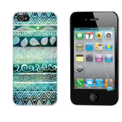 Atdoshop(TM)Peacock Green Pattern Hand Made Hard Case Cover for iPhone 4 4S