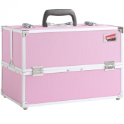 Beautify - Professional Large Cotton Candy Pink Aluminium 8 compartment Beauty Box Cosmetics & Make Up Case