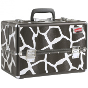 Beautify Professional LARGE Black Animal Print Aluminium 8 compartment Beauty Box Cosmetics & Make Up Case