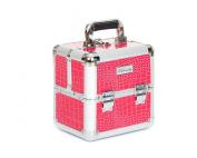 Urbanity Pink Crocodile Aluminium Makeup Cosmetic Beauty Case